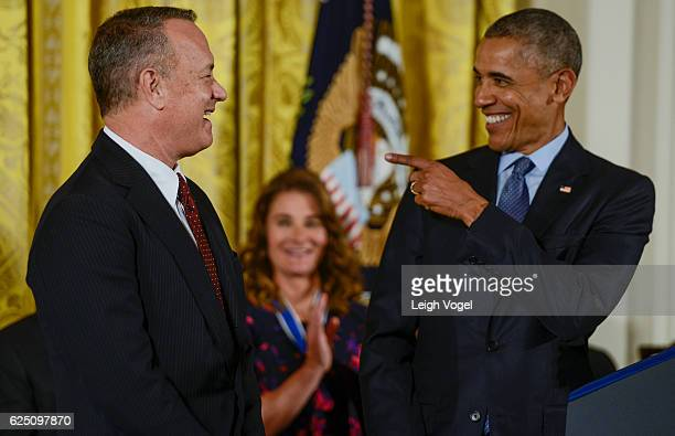 President Obama presents Tom Hanks with the 2016 Presidential Medal Of Freedom at the White House on November 22 2016 in Washington DC
