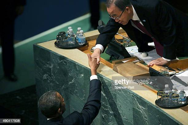 S President Obama shakes hands with United Nations Secretary General Ban Kimoon after giving remarks at the United Nations General Assembly at UN...