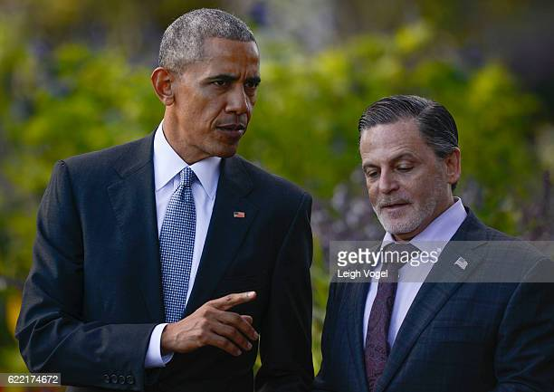 President Obama walks toward the South Lawn with Cleveland Cavaliers owner Dan Gilbert where he welcomes the 2016 NBA Champions Cleveland Cavaliers...