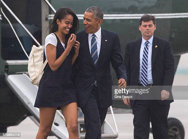 President Obama with his daughter Malia disembark from Marine One to board Air Force One at LAX April 8 2016 in El SegundoCalifornia Obama is...