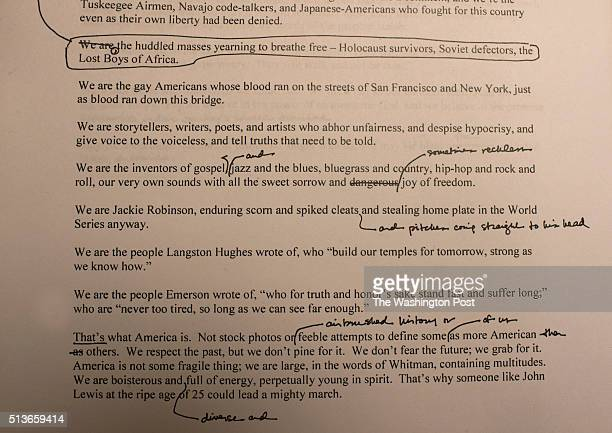 President Obamas Chief Speechwriter Cody Keenan allowed us to view a few of the Presidents speeches at the White House in Washington DC photographed...