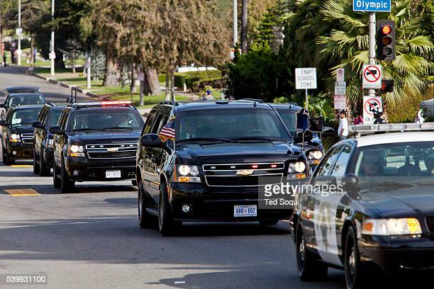 President Obama's motorcade rolls through the Hancock Park area of Los Angeles The president is on a two day fundraising visit in LA for the...