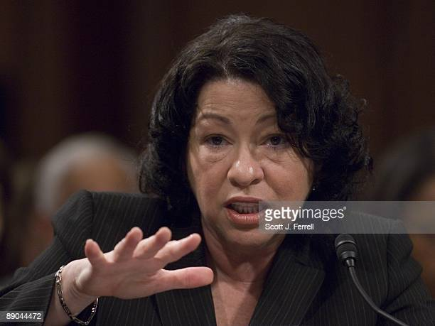 President Obama's nominee for the US Supreme Court Sonia Sotomayor testifies during her confirmation hearing before the Senate Judiciary Committee