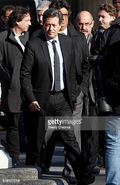 President of a French parlimentary commitee Georges Fenech arrives at the Bataclan concert hall where security forces are retracing the actions of...
