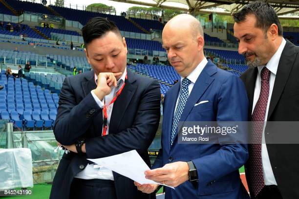 President of AC Milan Mr Lee and Director General of AC Milan Marco Fassone before the Serie A match between SS Lazio and AC Milan at Stadio Olimpico...