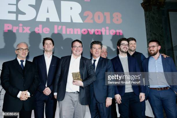 President of Academy des Cesars Alain Terzian General Director of AUDIENS Patrick Bezier CEO of SETKEEPER Octave BoryBert who receives the...