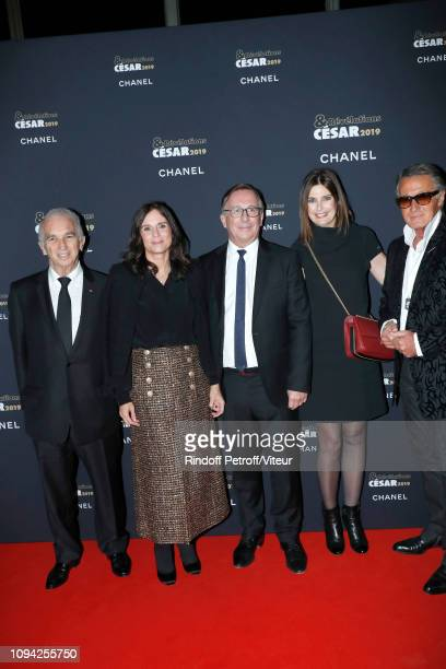 President of Academy des Cesars Alain Terzian President of Fashion Activities at Chanel Bruno Pavlovsky with his wife Nathalie Pavlovsky a guest and...