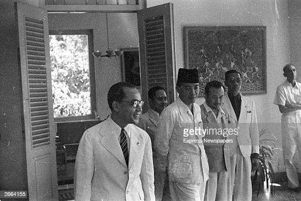 President of Achmad Sukarno of Indonesia third from left with members of his government Sukarno became the first president of the new Indonesian...