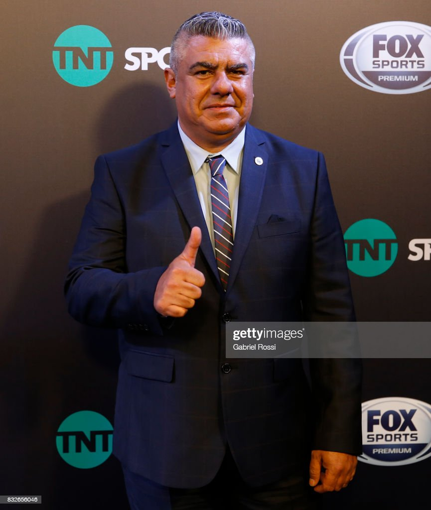 President of AFA Claudio Tapia gestures during AFA's Superliga Official Launch at Hilton Hotel on August 15, 2017 in Buenos Aires, Argentina.