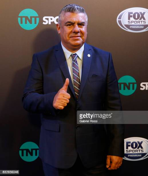 President of AFA Claudio Tapia gestures during AFA's Superliga Official Launch at Hilton Hotel on August 15 2017 in Buenos Aires Argentina