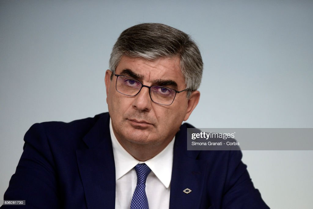 President of affected region Abruzzo Luciano D'Alfonso (Abruzzo) during a press conference at Palazzo Chigi on a year-long reconstruction of the first shakes, on August 21, 2017 in Rome, Italy.