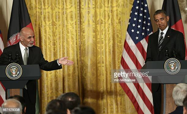 President of Afghanistan Ashraf Ghani answers a question while holding a joint press conference with US President Barack Obama in the East Room of...