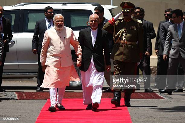 President of Afghanistan Ashraf Ghani welcomes Indian Prime Minister Narendra Modi with an official ceremony in Herat Afghanistan on June 04 2016