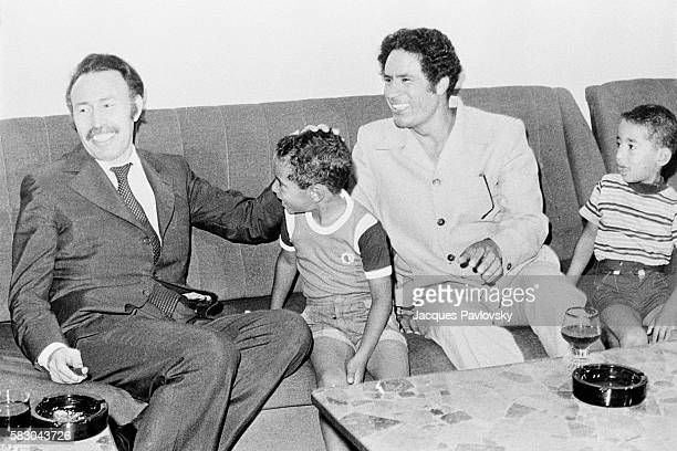 President of Algeria Houari Boumediene with Secretary General of the General People's Congress of Libya Muammar Gaddafi and his sons Muhammad and...