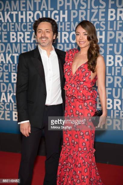 President of Alphabet Sergey Brin and Nicole Shanahan arrive at the 2018 Breakthrough Prize at NASA Ames Research Center on December 3 2017 in...