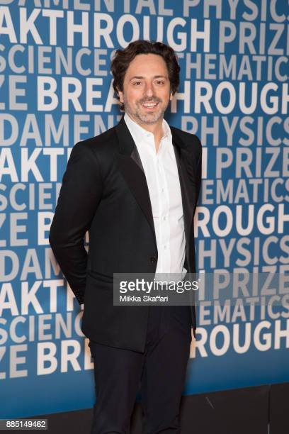 President of Alphabet Sergey Brin arrives at the 2018 Breakthrough Prize at NASA Ames Research Center on December 3 2017 in Mountain View California
