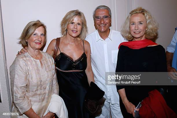President of Amaury Group MarieOdile Amaury Journalist Laurence Piquet and her husband Journalist Norbert Balit and actress Brigitte Fossey attend...