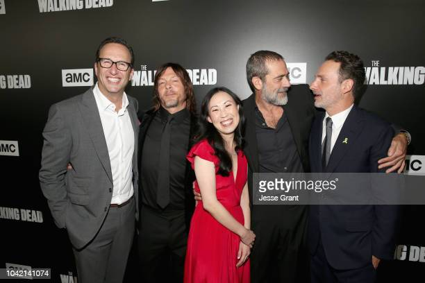 President of AMC Sundancetv AMC Studios at AMC Networks Charlie Collier Norman Reedus Angela Kang Jeffrey Dean Morgan and Andrew Lincoln attend The...