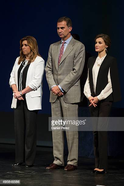President of Andalucia Region Susana Diaz King Felipe VI of Spain and Queen Letizia of Spain attend the National Innovation and Design Awards 2015 on...