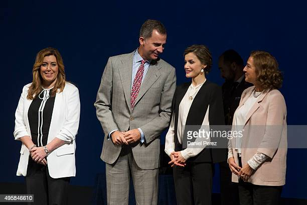 President of Andalucia Region Susana Diaz King Felipe VI of Spain Queen Letizia of Spain and Carmen Vela Spanish Secretary of State of Research and...