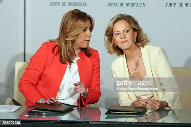 President of Andalucia Susana Diaz and Amancio Ortega's wife Flora Perez attend the delivery of 40 million of euros from Amancio Ortega Foundation to...