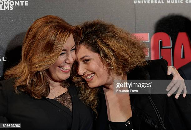 President of Andalucia Susana Diaz and singer Estrella Morente attend the 'Omega' premiere at Capitol cinema on November 16 2016 in Madrid Spain