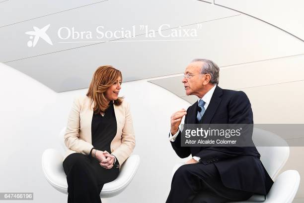 President of Andalusia Susana Diaz and President of 'La Caixa' Isidro Faine attends the Caixaforum Seville Inauguration on March 3 2017 in Seville...