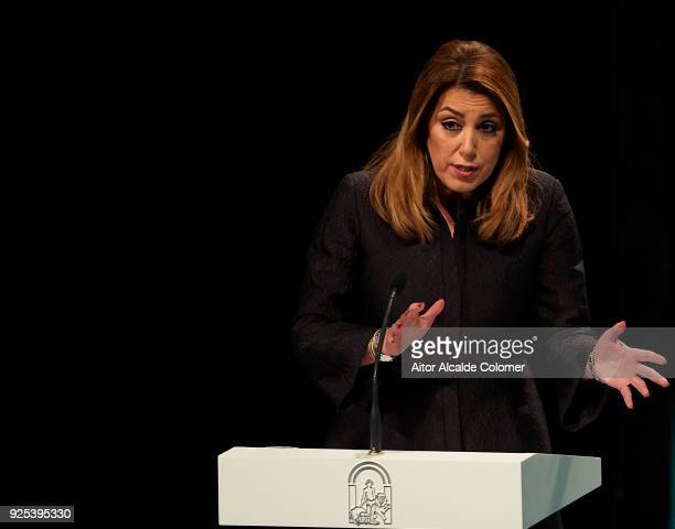 President of Andalusia Susana Diaz looks on during the Medal of Andalucia awards 2018 at the Teatro la Maestranza on February 28 2018 in Seville Spain