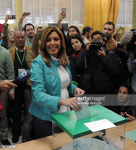 President of Andalusia's regional government and party candidate in the regional election Susana Diaz casts her ballot during regional elections in...