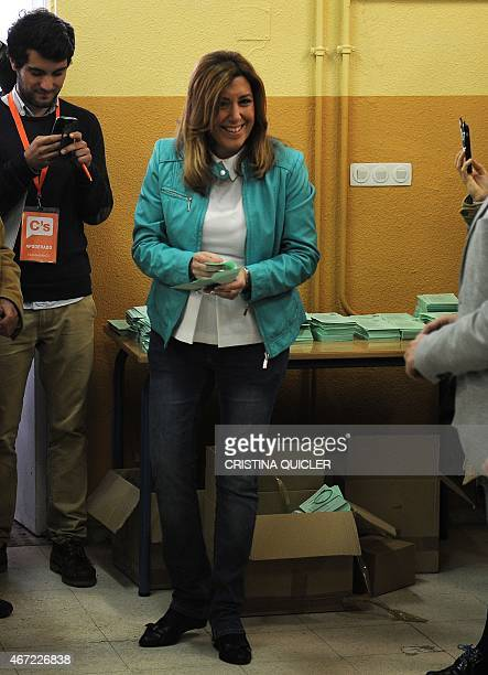 President of Andalusia's regional government and party candidate in the regional election Susana Diaz smiles before casting her ballot during...