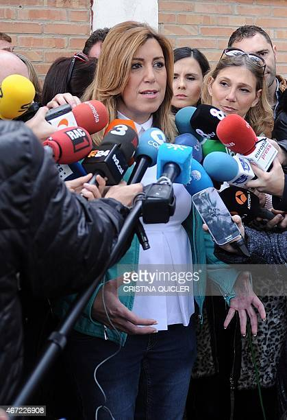 President of Andalusia's regional government and party candidate in the regional election Susana Diaz addresses journalists after casting her ballot...