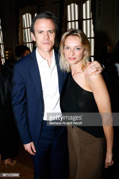 President of Andam Guillaume Houze and Constance Rey attend the Andam Fashion Awards 2018 Ceremony at Ministere de la Culture on June 29 2018 in...