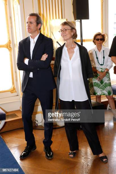President of Andam Guillaume Houze and French Minister of Culture Francoise Nyssen attend the Andam Fashion Awards 2018 Ceremony at Ministere de la...