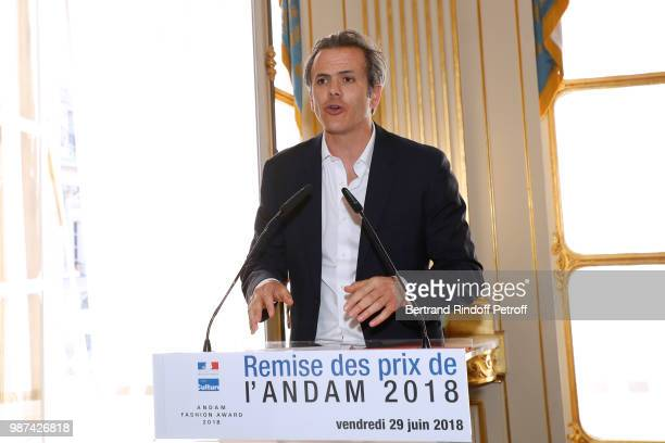 President of Andam Guillaume Houze presents the Andam Fashion Awards 2018 Ceremony at Ministere de la Culture on June 29 2018 in Paris France