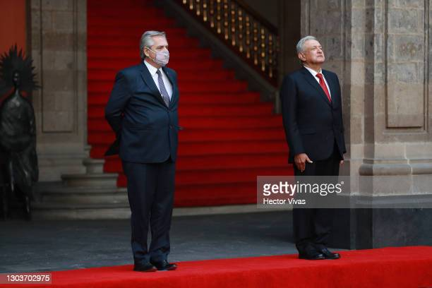 President of Argentina Alberto Fernandez and President of Mexico Andres Manuel Lopez Obrador stand during a ceremony to honour Francisco I. Madero at...