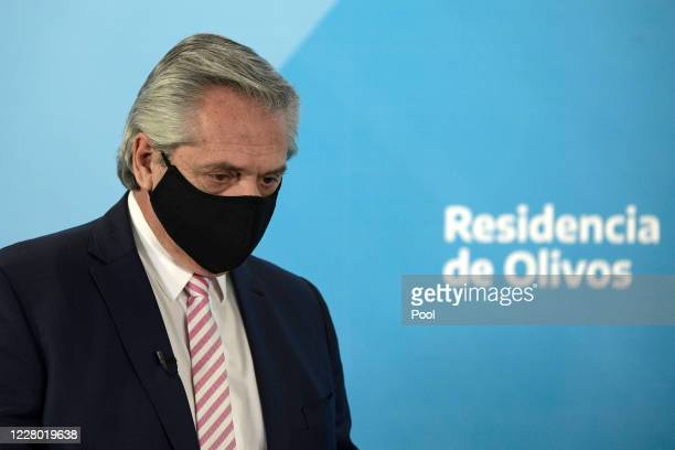 President of Argentina Alberto Fernandez arrives before a press conference to announce that Argentina will produce the Oxford Coronavirus Vaccine on...