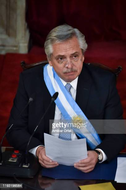 President of Argentina Alberto Fernandez delivers his inaugurational speech after being sworn into office during the Presidential Inauguration...