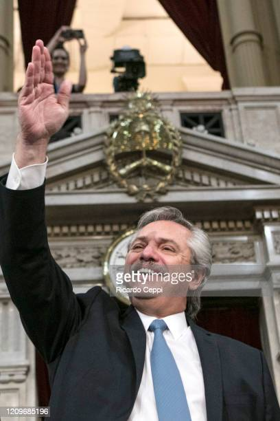 President of Argentina Alberto Fernandez greets during the opening session of the 138th period of the Argentine Congress on March 01, 2020 in Buenos...