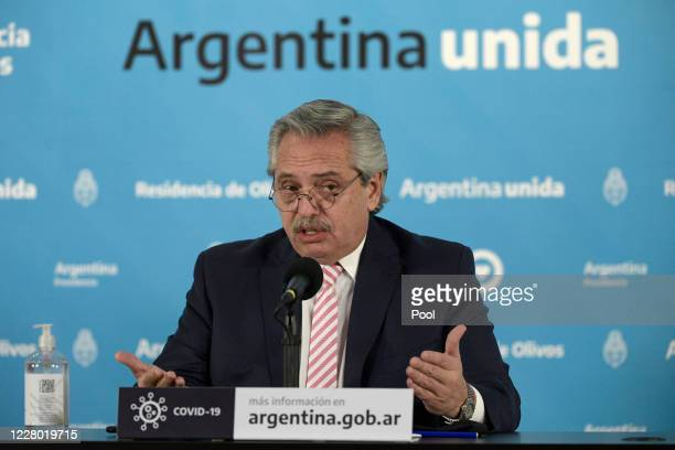 President of Argentina Alberto Fernandez speaks during a press conference to announce that Argentina will produce the Oxford Coronavirus Vaccine on...