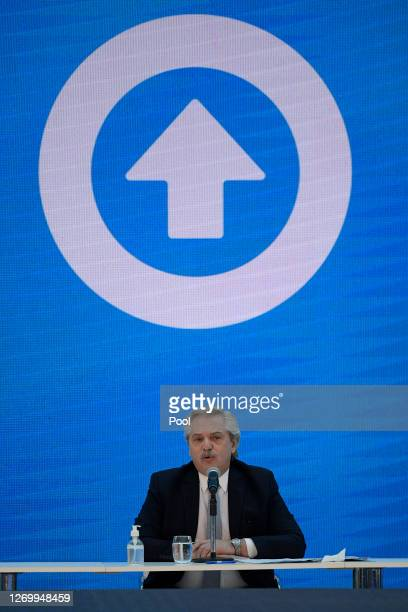 President of Argentina Alberto Fernandez speaks during a press conference to give details about the agreement with major private creditors to...
