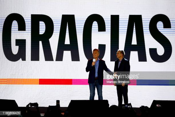 President of Argentina and candidate for reelection Mauricio Macri talks to supporters of Juntos Por El Cambio to recognize his defeat against...