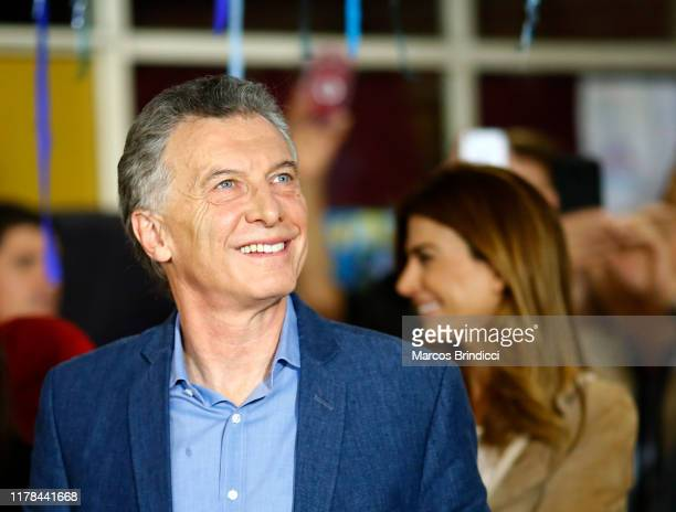 President of Argentina and Presidential candidate Mauricio Macri of 'Juntos por el Cambio' arrives to cast his vote during the presidential elections...