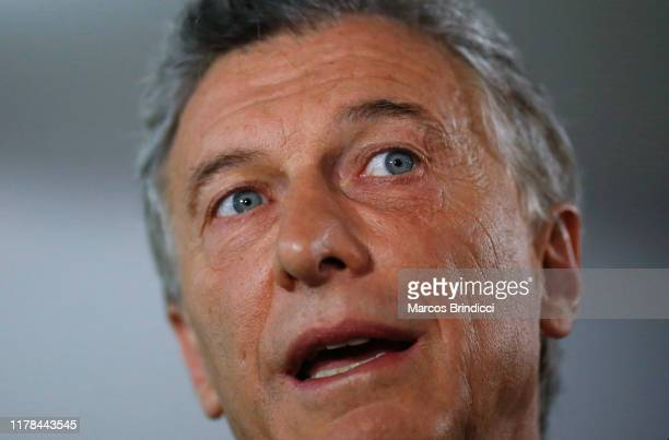 President of Argentina and Presidential candidate Mauricio Macri of 'Juntos por el Cambio' talks to the media after casting his vote during the...