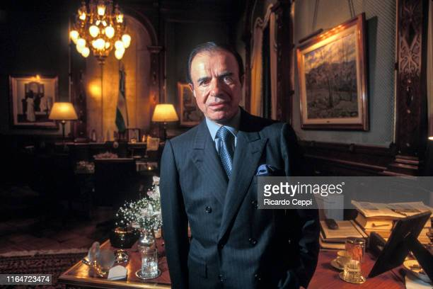 President of Argentina Carlos Menem poses during an exclusive portrait session on June 01 in Buenos Aires Argentina
