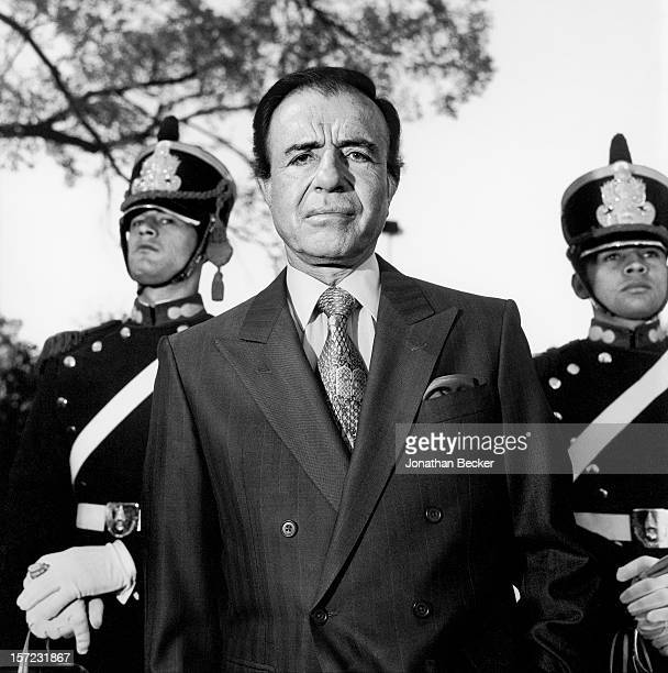 President of Argentina Carlos Saul Menem is photographed for Vanity Fair Magazine on April 29 1997 in Los Olivos in Buenos Aires Argentina PUBLISHED...