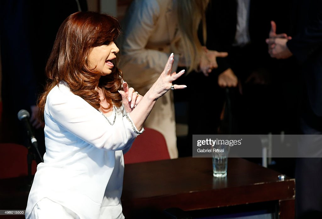 President of Argentina Cristina Fernandez de Kirchner gestures during the inauguration of the second stage of the Scientific and Technological Hub at CONICET on November 06, 2015 in Buenos Aires, Argentina.