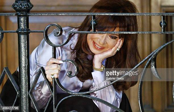 President of Argentina Cristina Fernandez de Kirchner looks on after a press conference at the Presidential Palace on September 30 2014 in Buenos...