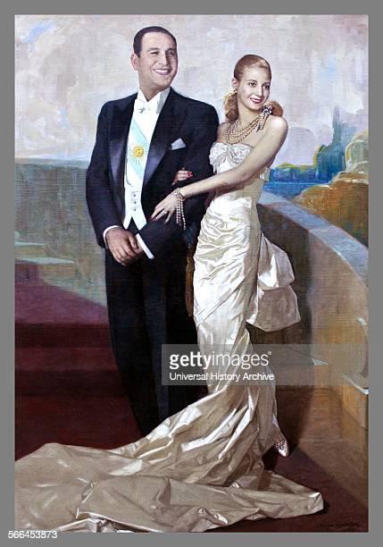 President of Argentina Juan Domingo Peron with his wife Eva 1949