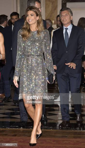 President of Argentina Mauricio Macri and Argentina's First Lady Juliana Awada attend a reception hosted by Spanish Royals at the Four Seasons Hotel...