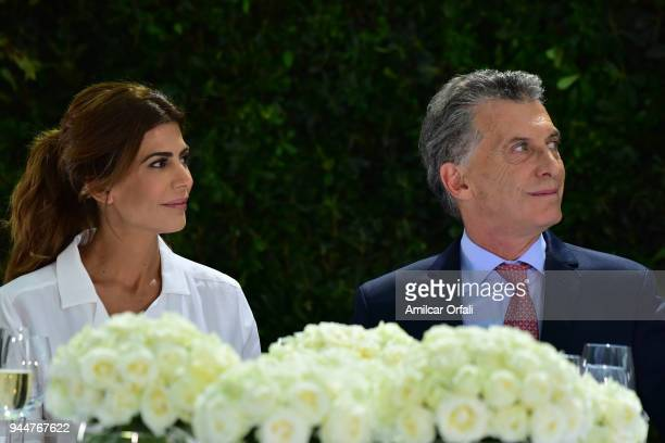 President of Argentina Mauricio Macri and First Lady Juliana Awada look on during the first day of the official visit of the president of Spain to...